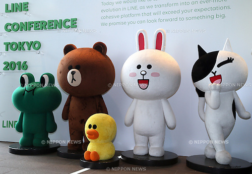 March 24, 2016, Urayasu, Japan - Characters of Japan's largest SNS provider Line are displayed at the Line Conference Tokyo at Urayasu in Chiba prefecture on Thursday, March 24, 2016. Line announced and the company:s business strategy and they would enter the new mobile phone service of MVNO with the network of NTT Docomo in this summer. (Photo by Yoshio Tsunoda/AFLO)