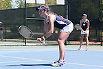 23 April 2015: Jane Fennelly (IRL) (left) and Mary Closs (behind). The Notre Dame University Fighting Irish played the Florida State University Seminoles at the Cary Tennis Park in Cary, North Carolina in a 2015 NCAA Division I Women's Tennis and Atlantic Coast Conference Tournament First Round match. Florida State won the match 4-3.
