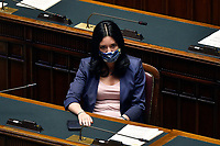 The Italian minister of Instruction Lucia Azzolina wearing a face mask during the information about the next European Council at the Chamber of Deputies. Rome (Italy), July 15th 2020<br /> Foto Pool Paolo Tre Insidefoto