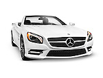 White 2015 Mercedes-Benz SL550 Roadster convertible 2LOOK Edition luxury car isolated on white background with clipping path