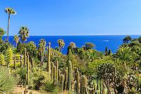 Espagne, Catalogne, Costa Brava, Blanes, Jardin botanique Marimurtra, vue depuis le haut du jardin sur la zone aride d'Amérique en premier plan  // Spain, Catalonia, Costa Brava, Blanes, Marimurtra Botanical Garden