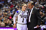 COLUMBUS, OH - MARCH 30: Mississippi State Bulldogs head coach Vic Schaefer helps Blair Schaefer #1 of the Mississippi State Bulldogs to the bench during a semifinal game of the 2018 NCAA Division I Women's Basketball Final Four at Nationwide Arena in Columbus, Ohio. (Photo by Ben Solomon/NCAA Photos via Getty Images)