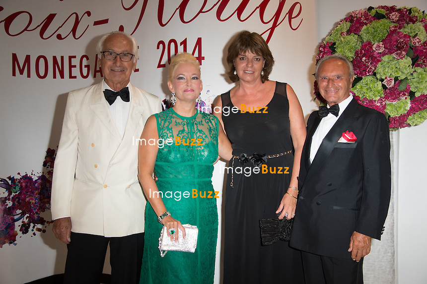 NO TABLOID Jean-Louis Masurel, Roberta Gilardi, Catherine Masurel and Dottore Donato Sestito attend the 66th Monaco Red Cross Ball Gala at Sporting Monte-Carlo on August 1, 2014 in Monte-Carlo, Monaco.