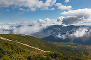 Appalachian Trail - Pemigewasset Wilderness from Franconia Ridge Trail near Mount Lincoln during the summer months in the White Mountains, New Hampshire USA.