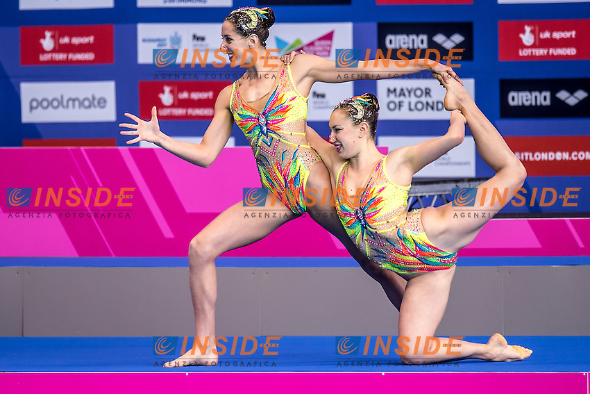 AUGE Laura  FRA CHRETIEN Margaux  FRA<br /> London, Queen Elizabeth II Olympic Park Pool <br /> LEN 2016 European Aquatics Elite Championships <br /> Synchronised Swimming Synchro Duet Tech<br /> Day 06 13-05-2016<br /> Photo Giorgio Scala/Deepbluemedia/Insidefoto