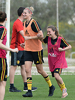 20180306 - LARNACA , CYPRUS :  Belgian Justine Vanhaevermaet and Davina Philtjens (r) pictured during a Matchday -1 training from The Belgian Red Flames prior to their game against South Africa , on tuesday 6 March 2018 at the Alpha Sports Grounds in Larnaca , Cyprus . This will be the final game for Belgium during the Cyprus Womens Cup for a battle for the 5th place , a prestigious women soccer tournament as a preparation on the World Cup 2019 qualification duels. PHOTO SPORTPIX.BE | DAVID CATRY