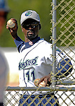 30 June 2007: Vermont Lake Monsters Manager Darnell Coles throws batting practice prior to a game against the Lowell Spinners at Historic Centennial Field in Burlington, Vermont. The Spinners defeated the Lake Monsters 8-4 in the last game of their 3-game, NY Penn-League series...Mandatory Photo Credit: Ed Wolfstein Photo