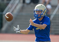 NWA Democrat-Gazette/BEN GOFF @NWABENGOFF<br /> Noah Moix, Harrison receiver, catches a tipped pass for a touchdown vs Rogers Thursday, July 11, 2019, during the Border Battle 7-on-7 Tournament, in partnership with the Pro Football Hall of Fame Scholastic 7v7 series, at Branson (Mo.) High School's Pirates Stadium.
