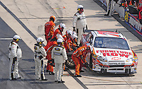 Jun 1, 2008; Dover, DE, USA; NASCAR Sprint Cup Series driver Joe Nemechek (78) pits after crashing during the Best Buy 400 at the Dover International Speedway. Mandatory Credit: Mark J. Rebilas-US PRESSWIRE
