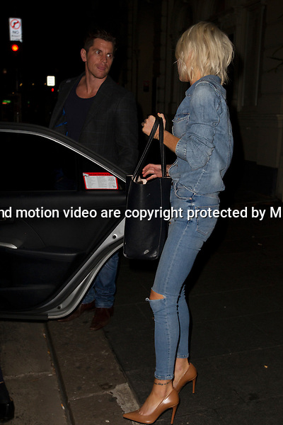 5 MAY 2015 SYDNEY AUSTRALIA<br /> <br /> EXCLUSIVE PICTURES<br /> <br /> MKR contestants pictured leaving a 'grand final' get together at the CBD Hotel Sydney for this years winners Steve Flood and Will Stewart. Pictured are Adam Anderson and Carol Molloy, Robert &amp; Lynzey Murphy, Drasco and Bianca. Also in attendance was Caroline Groth who left after Steve had made a hasty back door exit.