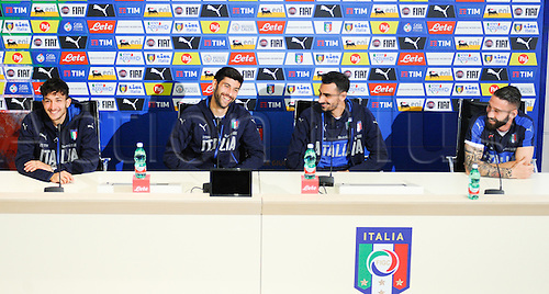 20.05.2016. Florence, Italy. The mens Italian Football team press conference.   Lorenzo Tonelli, Marco Benassi, Davide Zappacosta e Danilo Cataldi