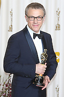 02/24/13 Hollywood, CA: Actor Chritoph Waltz poses in the press room during the Oscars