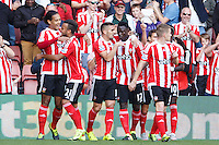 Virgil van Dijk celebrates scoring a goal after making it 1-0 during the Barclays Premier League match between Southampton v Swansea City played at St Mary's Stadium, Southampton