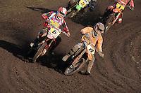 MOTORSPORT: JOURE: De Nutsbaan, MC Flying Boetoe, 12-05-2012, ONK Grasbaan wedstrijden, Shorttrack ST1, Winnaar Berry de Vos (#6), Dirk Werkman (#8), ©foto Martin de Jong