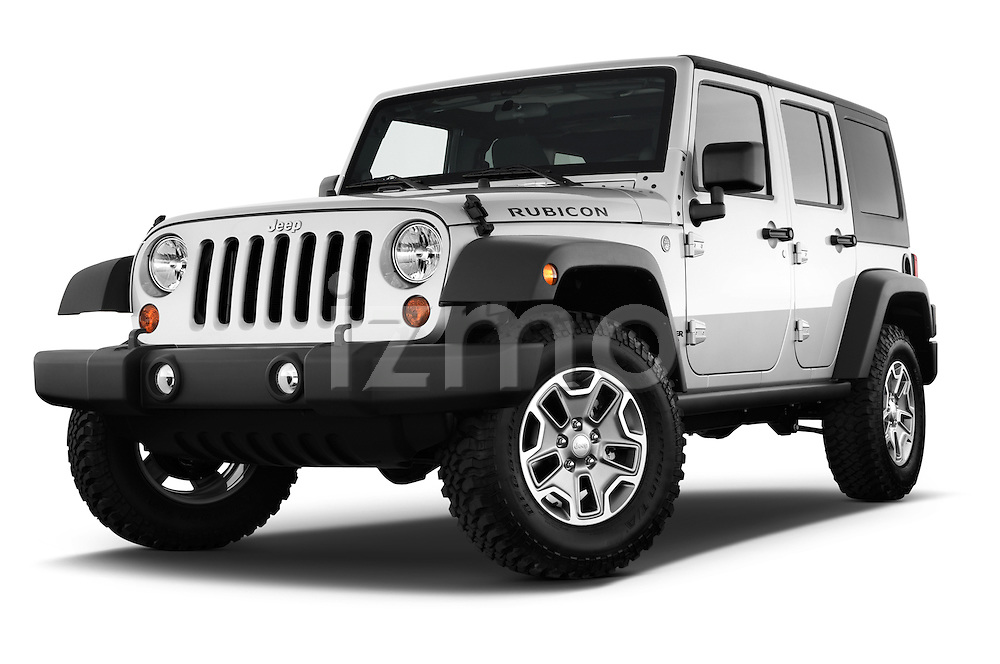 Low aggressive front three quarter view of a 2013 Jeep Wrangler Unlimited Rubicon