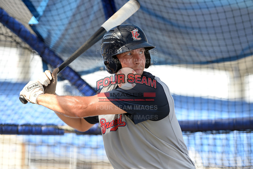 Brevard County Manatees catcher Paul Eshleman (17) in the batting cage during practice before a game against the Dunedin Blue Jays on April 23, 2015 at Florida Auto Exchange Stadium in Dunedin, Florida.  Brevard County defeated Dunedin 10-6.  (Mike Janes/Four Seam Images)