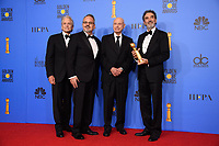 For BEST TELEVISION SERIES - MUSICAL OR COMEDY, the Golden Globe is awarded to &quot;The Kominsky Method&quot; (Netflix). Michael Douglas, Al Higgins, Alan Arkin and Chuck Lorre pose with the award backstage in the press room at the 76th Annual Golden Globe Awards at the Beverly Hilton in Beverly Hills, CA on Sunday, January 6, 2019.<br /> *Editorial Use Only*<br /> CAP/PLF/HFPA<br /> Image supplied by Capital Pictures