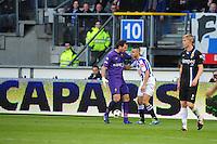 VOETBAL: HEERENVEEN: Abe Lenstra Stadion, SC Heerenveen - Vitesse, 21-01-2012, Piet Velthuizen (#22), Oussama Assaidi (#22), Tomas Kalas (#2), Eindstand 1-1, ©foto Martin de Jong