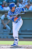 Tennessee Smokies center fielder Albert Almora Jr. (6) squares to bunt during a game against the Birmingham Barons on August 2, 2015 in Kodak, Tennessee. The Smokies defeated the Barons 5-2. (Tony Farlow/Four Seam Images)