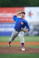 Midland RockHounds starting pitcher Daniel Mengden (15) delivers a pitch during a game against the San Antonio Missions on April 21, 2016 at Nelson W. Wolff Municipal Stadium in San Antonio, Texas.  Midland defeated San Antonio 9-2.  (Mike Janes/Four Seam Images)