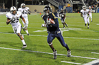 6 November 2010:  FIU wide receiver T.Y. Hilton (4) takes the ball in for a touchdown in overtime as the FIU Golden Panthers defeated the University of Louisiana-Monroe Warhawks, 42-35 in double overtime, at FIU Stadium in Miami, Florida.