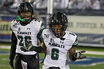 Hawaii wide receiver Cedric Byrd II (6) reacts after scoring a  touchdown against Nevada in the first half of an NCAA college football game in Reno, Nev. Saturday, Sept. 28, 2019. (AP Photo/Tom R. Smedes)