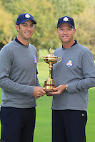 Dustin Johnson with Captain Davis Love III at the USA Team photo shoot during Monday's Practice Day of the 39th Ryder Cup at Medinah Country Club, Chicago, Illinois 25th September 2012 (Photo Eoin Clarke/www.golffile.ie)