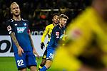16.12.2017, Signal Iduna Park, Dortmund, GER, 1.FBL, Borussia Dortmund vs TSG 1899 Hoffenheim, <br /> <br /> im Bild | picture shows<br /> vl. Kevin Vogt (TSG 1899 Hoffenheim #22) mit Pierre-Emerick Aubameyang (Borussia Dortmund #17) und Stefan Posch (TSG 1899 Hoffenheim #38), <br /> <br /> Foto &copy; nordphoto / Rauch