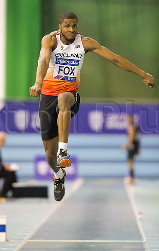 27.02.2016. EIS Sheffield, Sheffield, England. British Indoor Athletics Championships Day One. Nathan Fox (Shaftesbury B) competes in the Men's Triple Jump Final.