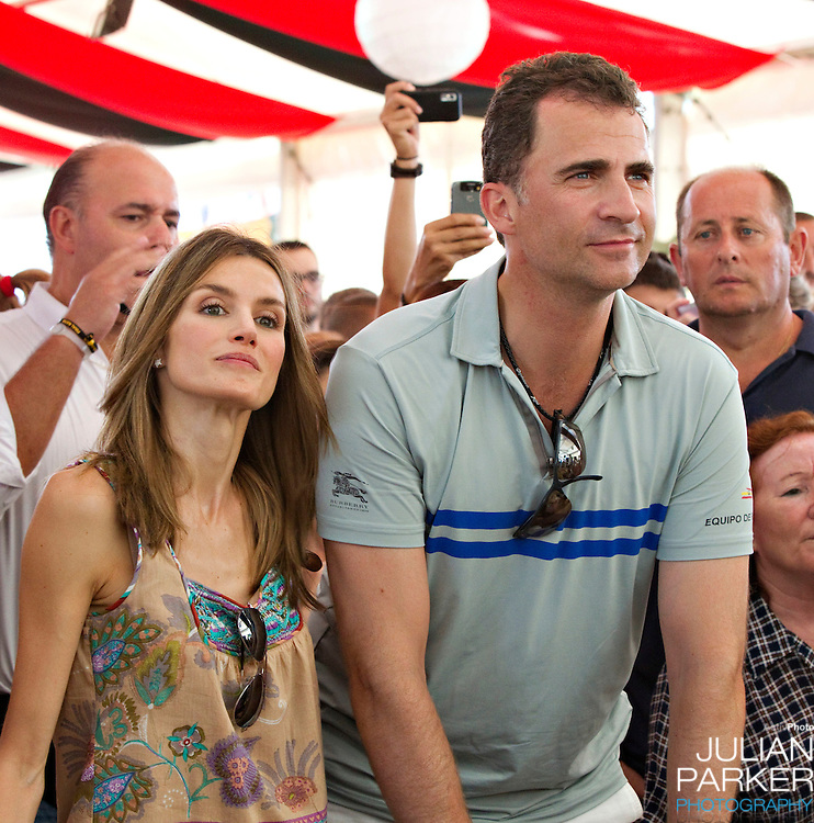 Crown Prince Felipe  and Crown Princess Letizia of Spain with their daughters, Princess Leonor, and  Princess Sofia attend a concert, at The Royal Yacht Club, in Palma, Mallorca on the third day of the Copa Del Rey sailing regatta