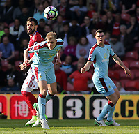Burnley's Ben Mee heads away from Middlesbrough's Alvaro Negredo<br /> <br /> Photographer David Shipman/CameraSport<br /> <br /> The Premier League - Middlesbrough v Burnley - Saturday 8th April 2017 - Riverside Stadium - Middlesbrough<br /> <br /> World Copyright &copy; 2017 CameraSport. All rights reserved. 43 Linden Ave. Countesthorpe. Leicester. England. LE8 5PG - Tel: +44 (0) 116 277 4147 - admin@camerasport.com - www.camerasport.com