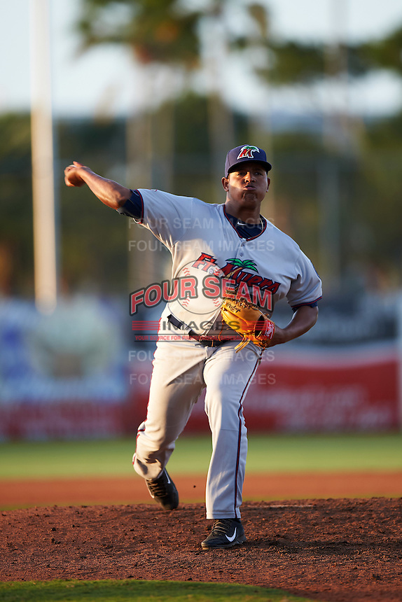 Fort Myers Miracle relief pitcher Raul Fernandez (31) delivers a pitch during a game against the Daytona Tortugas on April 17, 2016 at Jackie Robinson Ballpark in Daytona, Florida.  Fort Myers defeated Daytona 9-0.  (Mike Janes/Four Seam Images)