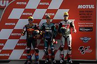 16th November 2019; Circuit Ricardo Tormo, Valencia, Spain; Valencia MotoGP, Qualifying Day;  Moto2 riders pole winners from left Jorge Martin (RedBull KTM), Jorge Navarro (Speed Up) and Stefano Manzi (MV Augusta Foward) - Editorial Use