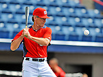 7 March 2012: Washington Nationals bullpen coach Jim Lett taps out grounders prior to a game against the St. Louis Cardinals at Space Coast Stadium in Viera, Florida. The teams battled to a 3-3 tie in Grapefruit League Spring Training action. Mandatory Credit: Ed Wolfstein Photo