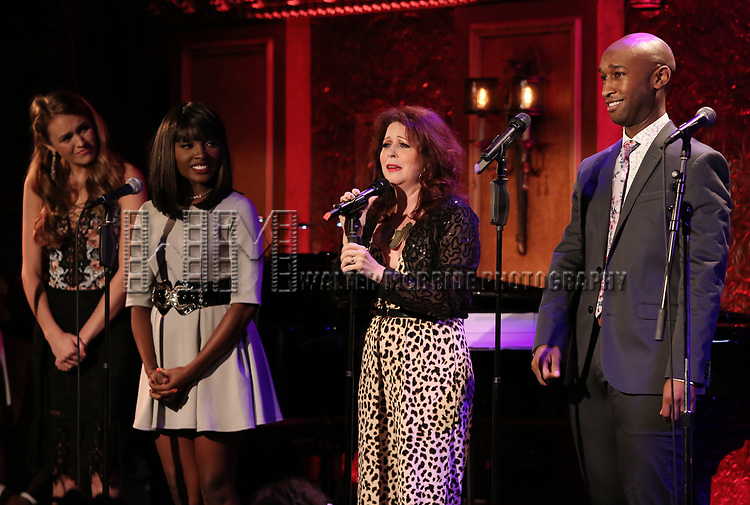 """Maddie Shea Baldwin, Loren Lott, Kirsten Wyatt and Donald Webber Jr. on stage during a Song preview performance of the BeBe Winans Broadway Bound Musical """"Born For This"""" at Feinstein's 54 Below on November 5, 2018 in New York City."""
