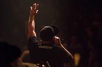 Die Hip-Hop-Gruppe Antilopen Gang aus Duesseldorf, Koeln und Berlin spielte am Samstag den 14. Maerz 2015 im ausverkauften Berliner Club SO36.<br /> Die Band besteht aus den Rappern Koljah Kolerikah, Panik Panzer (im Bild) und Danger Dan und steht beim Toten Hosen-Label JKP unter Vertrag.<br /> 14.3.2015, Berlin<br /> Copyright: Christian-Ditsch.de<br /> [Inhaltsveraendernde Manipulation des Fotos nur nach ausdruecklicher Genehmigung des Fotografen. Vereinbarungen ueber Abtretung von Persoenlichkeitsrechten/Model Release der abgebildeten Person/Personen liegen nicht vor. NO MODEL RELEASE! Nur fuer Redaktionelle Zwecke. Don't publish without copyright Christian-Ditsch.de, Veroeffentlichung nur mit Fotografennennung, sowie gegen Honorar, MwSt. und Beleg. Konto: I N G - D i B a, IBAN DE58500105175400192269, BIC INGDDEFFXXX, Kontakt: post@christian-ditsch.de<br /> Bei der Bearbeitung der Dateiinformationen darf die Urheberkennzeichnung in den EXIF- und  IPTC-Daten nicht entfernt werden, diese sind in digitalen Medien nach &sect;95c UrhG rechtlich geschuetzt. Der Urhebervermerk wird gemaess &sect;13 UrhG verlangt.]