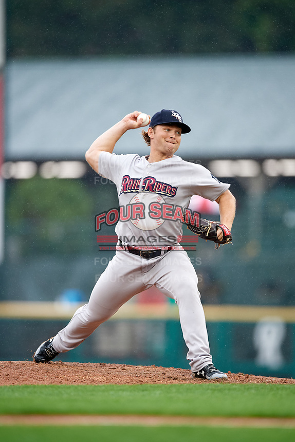 Scranton/Wilkes-Barre RailRiders starting pitcher Chance Adams (28) delivers a pitch during a game against the Rochester Red Wings on June 24, 2018 at Frontier Field in Rochester, New York.  The game was suspended in the fourth inning due to inclement weather.  (Mike Janes/Four Seam Images)