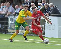 FC GULLEGEM - WITGOOR SPORT DESSEL :<br /> Jarne Jodts (R) tracht voorbij Ilias Van Roy (L) te geraken<br /> <br /> Foto VDB / Bart Vandenbroucke