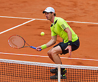 France, Paris, 27.05.2014. Tennis, French Open, Roland Garros, Andy Murray (GBR) in his match against Andrey Golubev (KAZ)<br /> Photo:Tennisimages/Henk Koster
