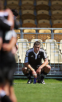 Blade Thomson is disconsolate after the loss during the International rugby match between New Zealand Secondary Schools and Suncorp Australia Secondary Schools at Yarrows Stadium, New Plymouth, New Zealand on Friday, 10 October 2008. Photo: Dave Lintott / lintottphoto.co.nz