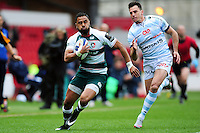 Telusa Veainu of Leicester Tigers in possession. European Rugby Champions Cup semi final, between Leicester Tigers and Racing 92 on April 24, 2016 at The City Ground in Nottingham, England. Photo by: Patrick Khachfe / JMP