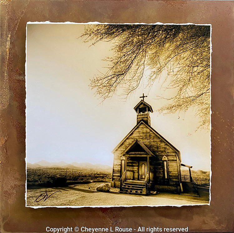 """Lonesome Chapel - Mixed Media - Arizona<br /> <br /> Each unique piece is made to order. If I have the piece in stock I can ship it in 2-3 days. If I don't have it in stock and it has to be made, it will ship in 1-2 weeks. Feel free to contact me at chey.rouse@gmail.com before you order if you need the piece ASAP. <br /> <br /> The photograph is printed on a Silk photo paper, the edges of the photo are torn, photo is mounted to foam board, then I mount it to an 8""""x8"""" piece of rusted metal. The rust is unique on each piece...no two pieces are alike. PLEASE keep in mind that the rust on the piece(s) you receive may be slightly different than the photo. Each piece of metal is sealed after it is done """"rusting"""" and is titled, hand signed and, ready to hang. To see the detail for theses Mixed Media pieces please click on the 1st photo in this gallery. You will be able to see the detail of the torn paper edge as well as the back of the piece."""