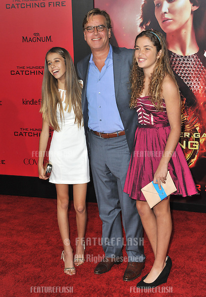 Aaron Sorkin &amp; daughters at the US premiere of &quot;The Hunger Games: Catching Fire&quot; at the Nokia Theatre LA Live.<br /> November 18, 2013  Los Angeles, CA<br /> Picture: Paul Smith / Featureflash
