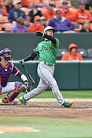 Notre Dame Fighting Irish first baseman Daniel Jung (31) swings at a pitch during a game against the Clemson Tigers at Doug Kingsmore Stadium on March 11, 2017 in Clemson, South Carolina. The Tigers defeated the Fighting Irish 6-5. (Tony Farlow/Four Seam Images)
