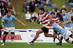 Luke Hamilton tackles the fast running Ahsee Tuala. ITM Cup rugby game between Counties Manukau Steelers and Northland, played at Bayer Growers Stadium, Pukekohe, on Sunday September 26th 2010..The Counties Manukau Steelers won 40 - 24 after leading 27 - 7 at halftime.