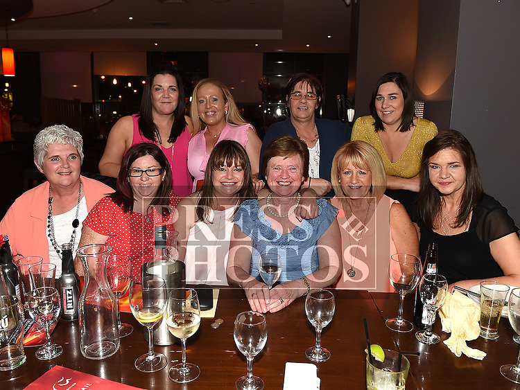 Rita Kelly celebrating her retirement from North Link M1 Toll Plaza with her workmates in Brú. Photo:Colin Bell/pressphotos.ie