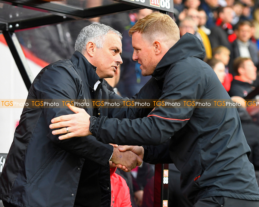 Manchester United Manager Jose Mourinho left greets AFC Bournemouth Manager Eddie Howe during AFC Bournemouth vs Manchester United, Premier League Football at the Vitality Stadium on 3rd November 2018