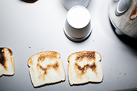 Pieces of toast bearing the candidate's image lay on a table at a campaign event for satirical presidential candidate Vermin Supreme at Ten Rod Farm in Rochester, New Hampshire. Supreme's platform advocates a pony-based economy, using zombies to solve the energy crisis, and other outlandish ideas. Supreme has been on the New Hampshire primary ballot in 2008 and 2012, though he has been running for president in 1992. Vermin Supreme will be on the Democratic party ballot in the 2016 New Hampshire primary.