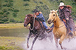 Kodiak Island, cowgirls race across the Pasagshak River,  Alaska.(Malisa Levenson and Rochelle Wood)
