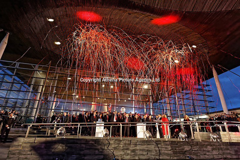 Team captain Alun Wyn Jones and Jonathan Davies lift the Six Nations trophies during the Celebration for Wales Six Nations Win at the National Assembly for Wales, Cardiff Bay, Wales, UK. Monday 18 March 2019